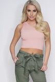 Tia One Shoulder Crop Top - Salmon - WantMyLook