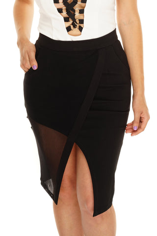 Mira Mesh Skirt - Black - WantMyLook