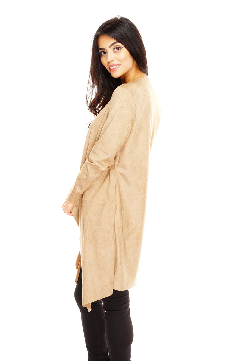 Zina Suede Waterfall Duster Cardigan - Tan - WantMyLook