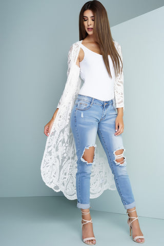 Frankie Long Lace Cardigan - White