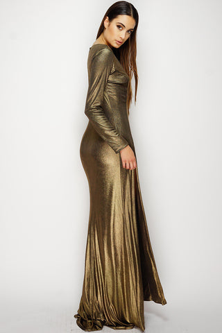 Sylvia Metallic Dress - Gold