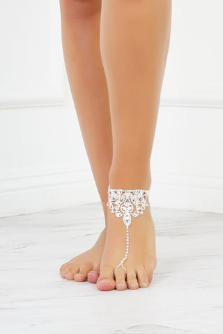 Vacay Vibes Rhinestone Anklet - Silver