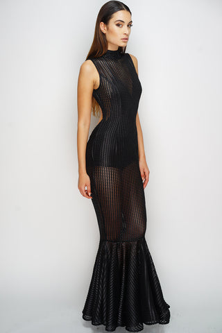 Marissa Mermaid Maxi Dress - Black - WantMyLook