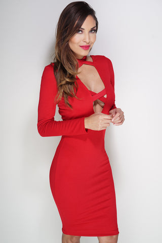 Ashlie Lace Up Dress - Red - WantMyLook