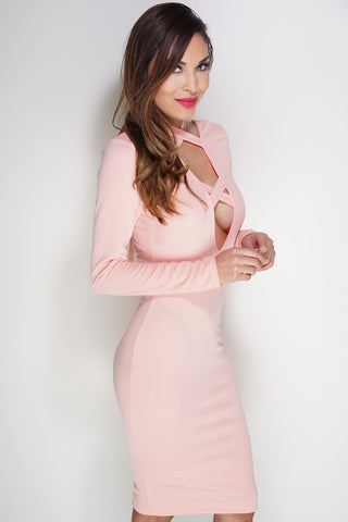 Ashlie Lace Up Dress - Pink - WantMyLook