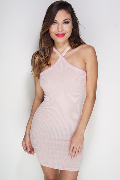 Rowan Ribbed Knit Dress - Blush - WantMyLook