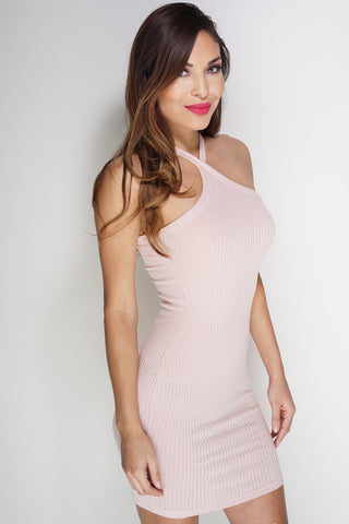 Rowan Ribbed Knit Dress - Blush