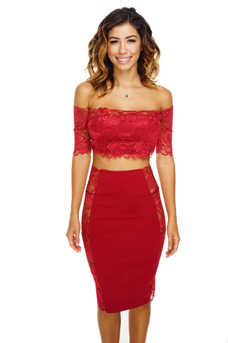 Ellie Lace Set - Wine