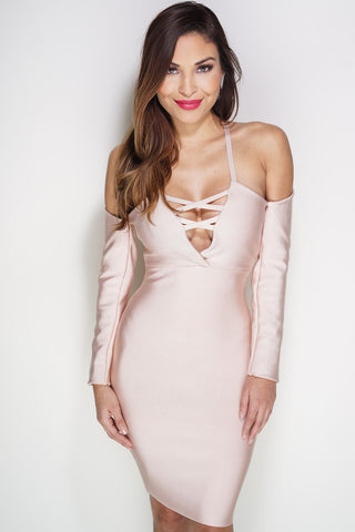 Cambria Lace Bandage Mini Dress - Blush