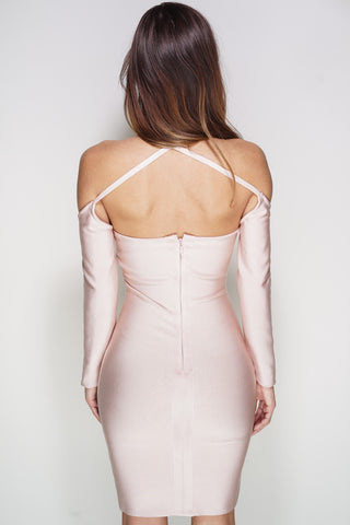 Cambria Lace Bandage Mini Dress - Blush - WantMyLook