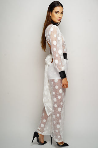 Rita Polka Dot Jumpsuit - White