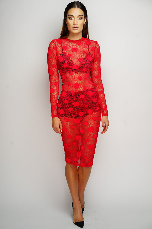 Alana Polka Dot Dress - Red - WantMyLook