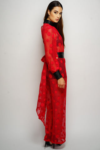 Rita Polka Dot Jumpsuit - Red