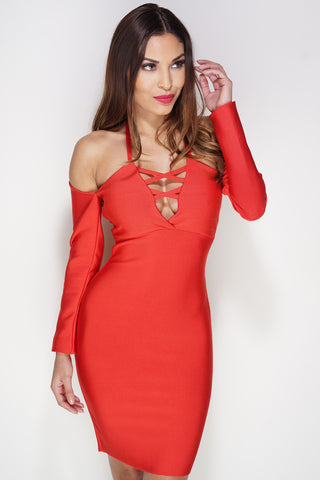 Cambria Lace Bandage Mini Dress - Red - WantMyLook