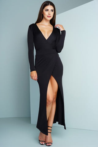Casia Wrap Maxi Dress - Black