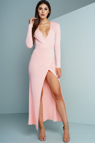 Casia Wrap Maxi Dress - Pink