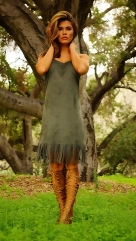 Juliet Fringe Dress - Olive - WantMyLook