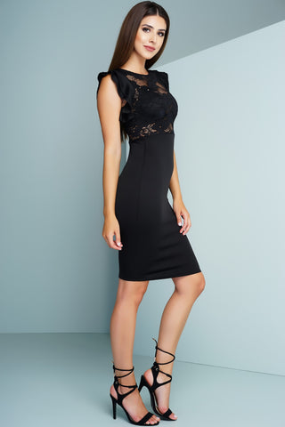 Briar Lace Pencil Dress - Black - WantMyLook