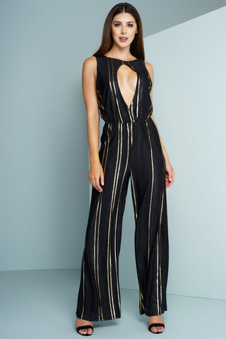 Elisa Metallic Jumpsuit - Striped Gold - WantMyLook