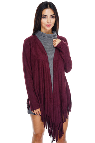 Autumn Suede Fringe Cardigan - Wine