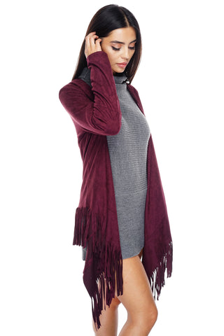 Autumn Suede Fringe Cardigan - Wine - WantMyLook