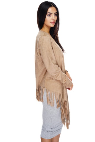 Autumn Suede Fringe Cardigan - Tan - WantMyLook