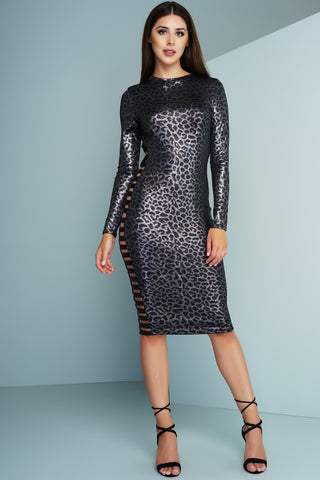 Jemma Dress - Black/Silver - WantMyLook