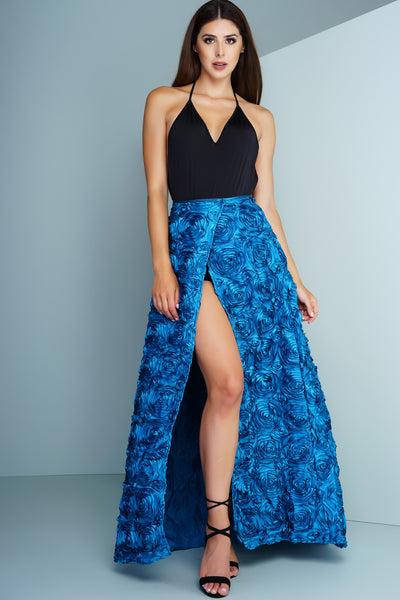 Rose Garden Floral Skirt - Blue