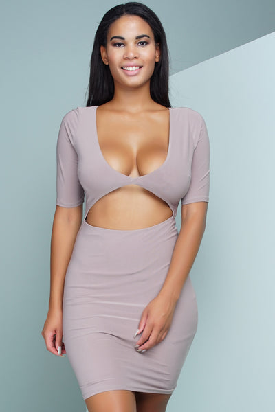 Nica Cut Out Mini Dress - Taupe - WantMyLook