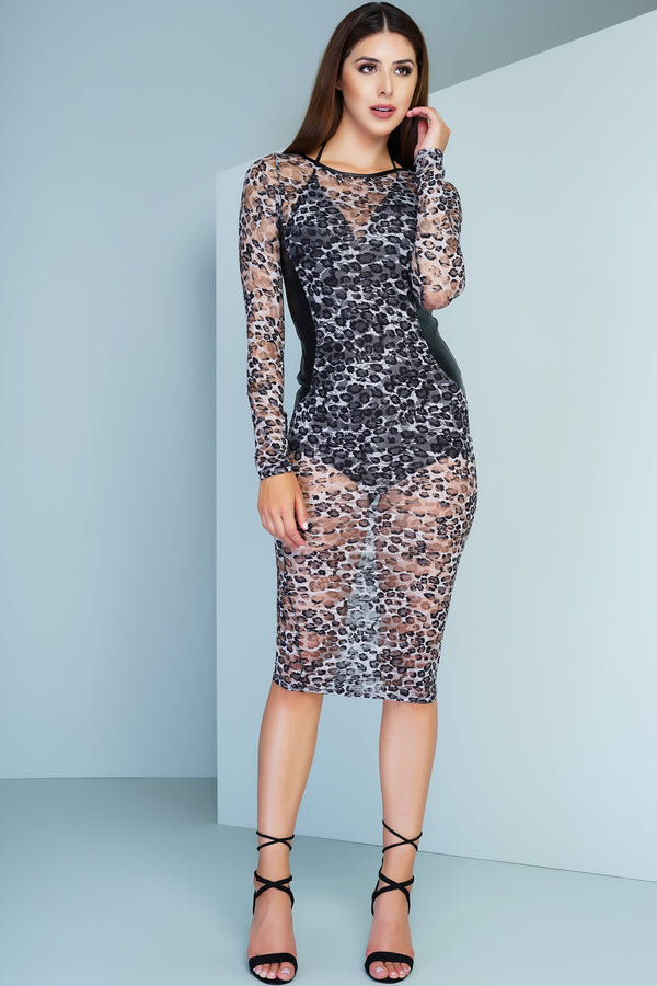 Bea Lace Dress - Cheetah - WantMyLook