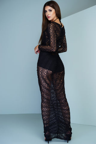 Avery Crochet Maxi Dress - Black - WantMyLook