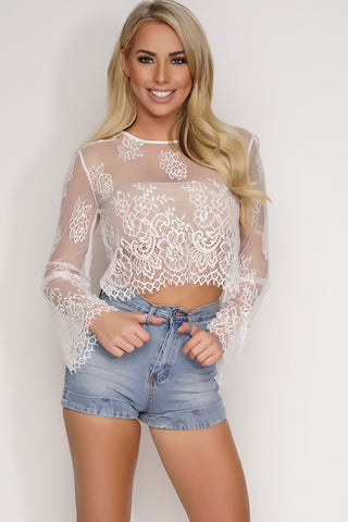 Jo Lace Crop Top - White - WantMyLook