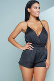 Alina Satin Cross Romper - Black