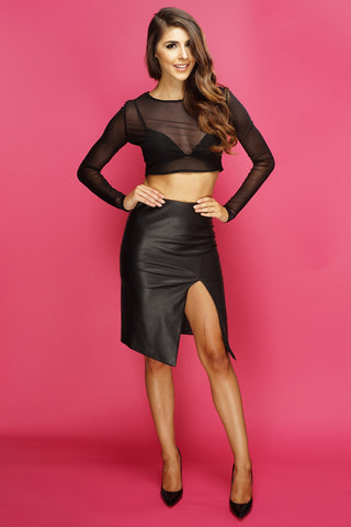 Geneve Faux Leather Skirt