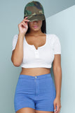 Imogen Button Crop - White