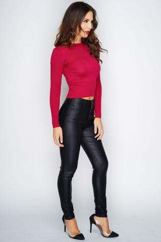 Cassidy Ribbed Cropped Sweater - Wine - WantMyLook