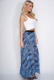 Cindy Chiffon Skirt - Blue Snake