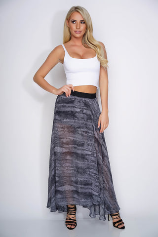 Cindy Chiffon Skirt - Black Snake