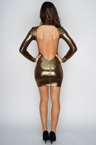 Noelle Mini Dress - Gold - WantMyLook