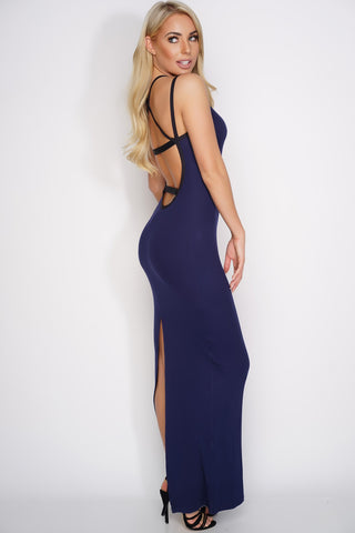 Karen Open Back Maxi Dress - Navy - WantMyLook