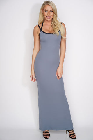 Karen Open Back Maxi Dress - Grey