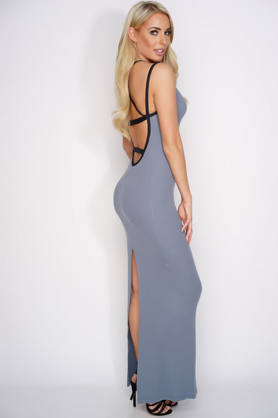 Karen Open Back Maxi Dress - Grey - WantMyLook