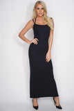 Karen Open Back Maxi Dress - Black - WantMyLook