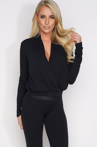 Elaine Wrap Top - Black