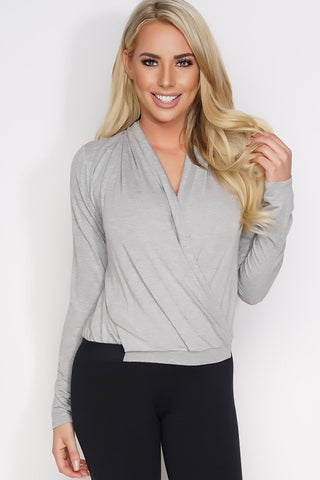 Elaine Wrap Top - Grey