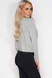 Elaine Wrap Top - Grey - WantMyLook