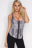 Heather Twist Back Tank - Black Snakeprint - WantMyLook