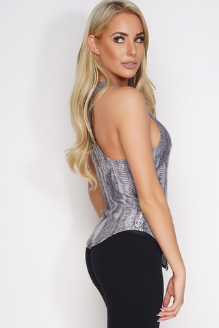 Heather Twist Back Tank - Black Snakeprint