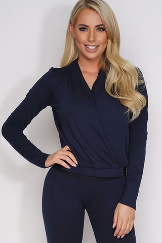 Elaine Wrap Top - Navy - WantMyLook