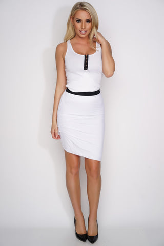 Claudia Ribbed Tank - White